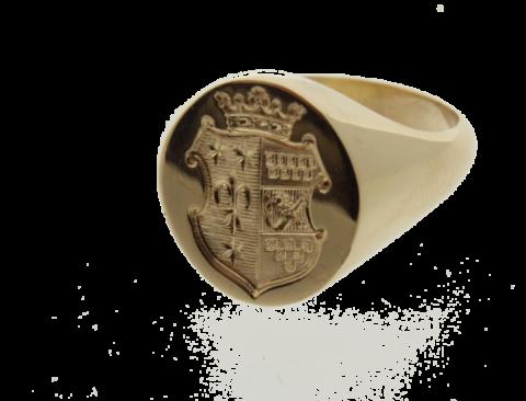 cachetring 18 kt goud, gravure schild met kroon